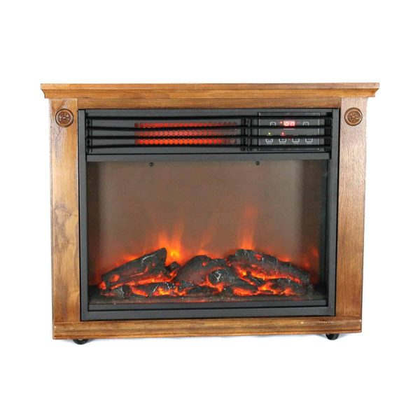 Lifesmart Large Mantle Fireplace with Infrared Elements and Remote