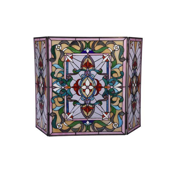 "Lighting AYLEE Tiffany-style 3pcs Folding Victorian Fireplace Screen 44"" Wide 1"