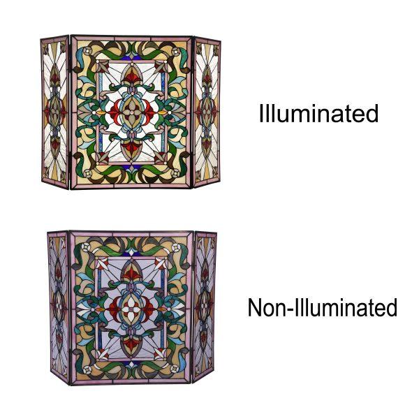 "Lighting AYLEE Tiffany-style 3pcs Folding Victorian Fireplace Screen 44"" Wide 2"