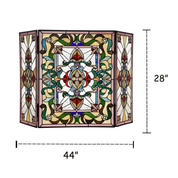 "Lighting AYLEE Tiffany-style 3pcs Folding Victorian Fireplace Screen 44"" Wide 3"