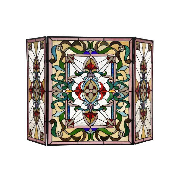 "Lighting AYLEE Tiffany-style 3pcs Folding Victorian Fireplace Screen 44"" Wide"