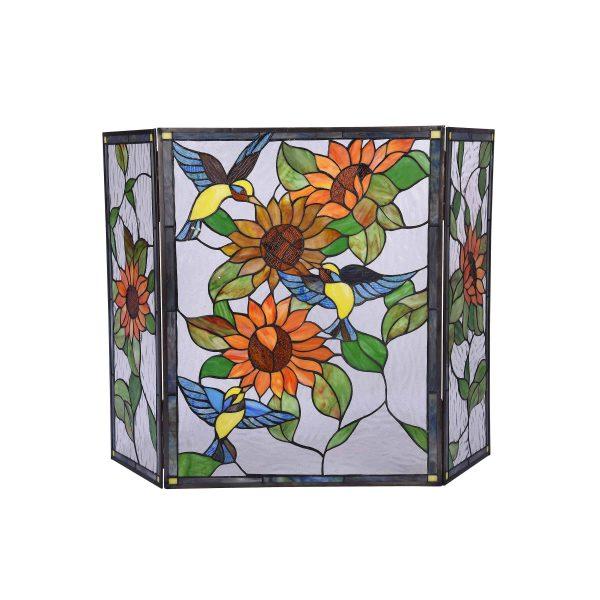 "Lighting SUNFLOWER Tiffany-style 3pcs Folding Floral Fireplace Screen 44"" Wide 1"
