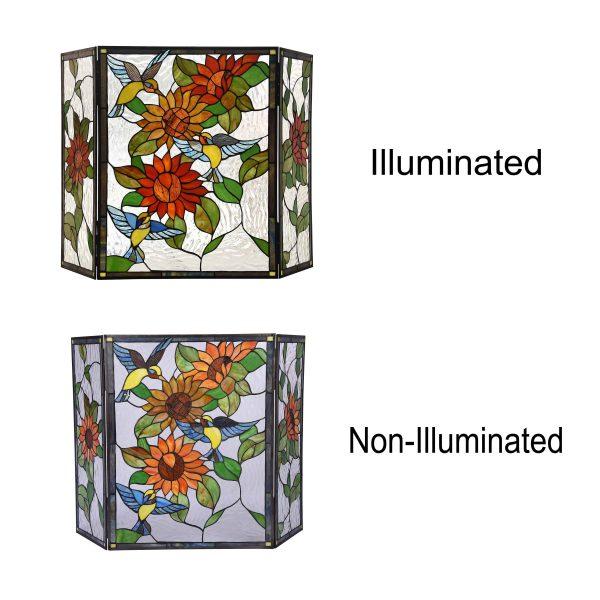 "Lighting SUNFLOWER Tiffany-style 3pcs Folding Floral Fireplace Screen 44"" Wide 2"