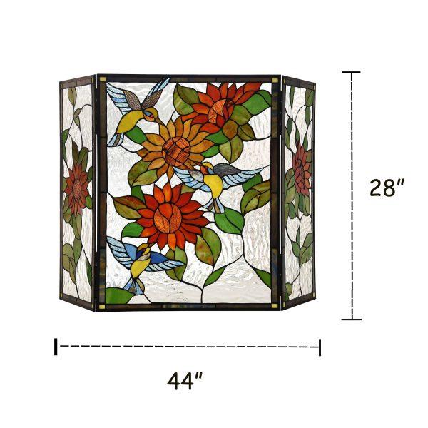 "Lighting SUNFLOWER Tiffany-style 3pcs Folding Floral Fireplace Screen 44"" Wide 3"
