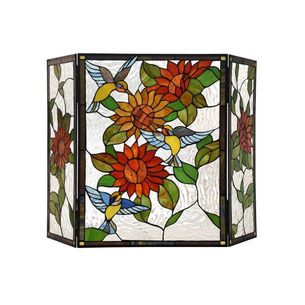 "Lighting SUNFLOWER Tiffany-style 3pcs Folding Floral Fireplace Screen 44"" Wide"