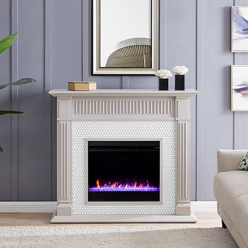 Livingvale Tiled Color Changing Fireplace by Ember Interiors