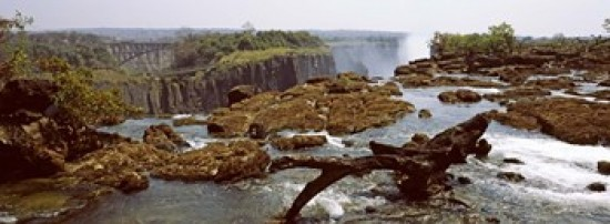 Log on the rocks at the top of the Victoria Falls with Victoria Falls Bridge in the background Zimbabwe Canvas Art - Panoramic Images (18 x 7)