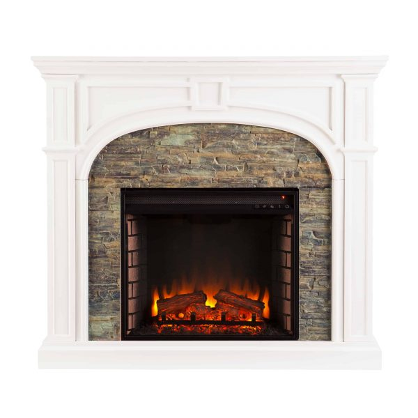 Logaic Electric Fireplace with Faux Stone, White 3