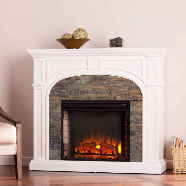 Logaic Electric Fireplace with Faux Stone