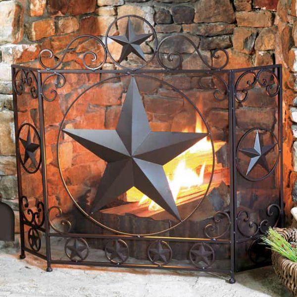 Lone Star Rustic Fireplace Screen - Western Decor