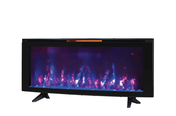 """Luminosity 48"""" Wall Mounted Infrared Quartz Electric Fireplace with Display Stand, Black 1"""