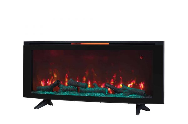 """Luminosity 48"""" Wall Mounted Infrared Quartz Electric Fireplace with Display Stand, Black 4"""