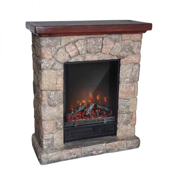 Luxen Home WHIF632 Poly Stone Cottage Free Standing Electric Fireplace Heater Mantel with Remote 1