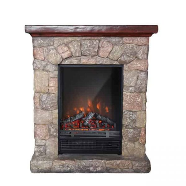 Luxen Home WHIF632 Poly Stone Cottage Free Standing Electric Fireplace Heater Mantel with Remote