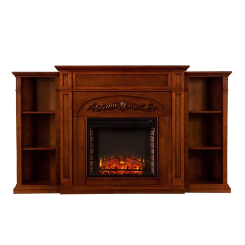 Lydia Electric Fireplace w/Bookcases, Autumn Oak 1
