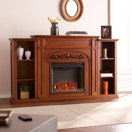 Lydia Electric Fireplace w/Bookcases, Autumn Oak 2