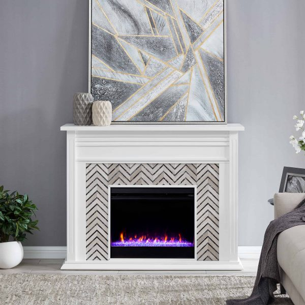 Lynfords Tiled Marble Color Changing Fireplace by Ember Interiors 5
