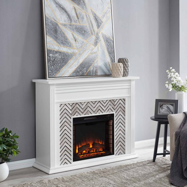 Lynfords Tiled Marble Electric Fireplace by Ember Interiors 6