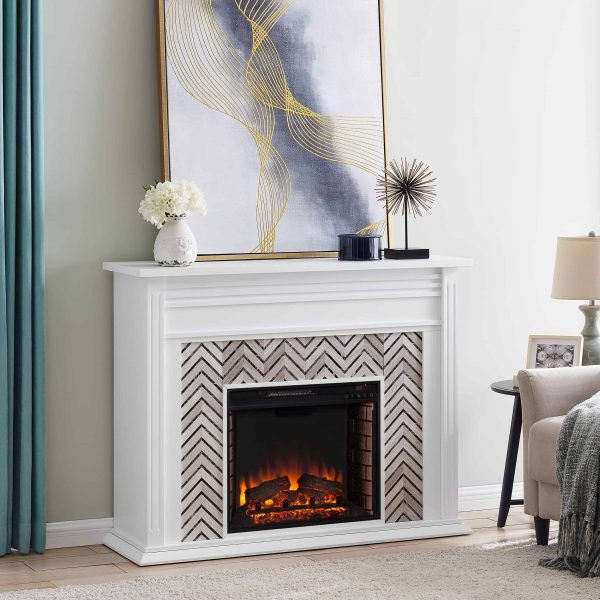 Lynfords Tiled Marble Electric Fireplace by Ember Interiors