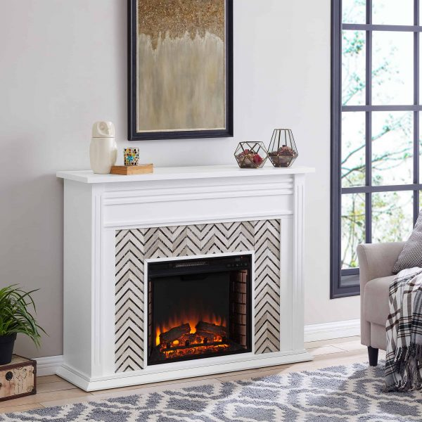 Lynfords Tiled Marble Electric Fireplace by Ember Interiors 9