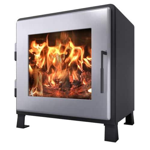 MF Fire MF-002-BP01-DP02 Satin Black Nova Wood Stove w/Charcoal Door 1