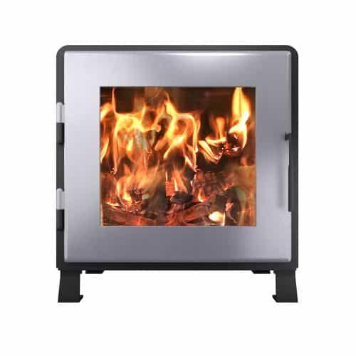 MF Fire MF-002-BP01-DP02 Satin Black Nova Wood Stove w/Charcoal Door
