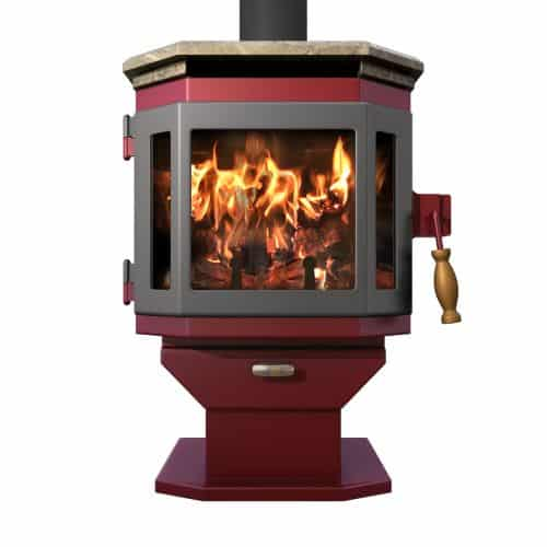 MF Fire Mojave Red Catalyst Wood Stove with Charcoal Door