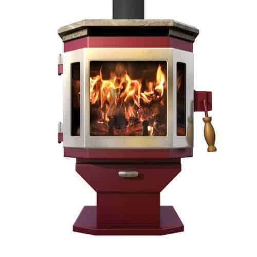 MF Fire Mojave Red Catalyst Wood Stove with SS Door and Soapstone Top