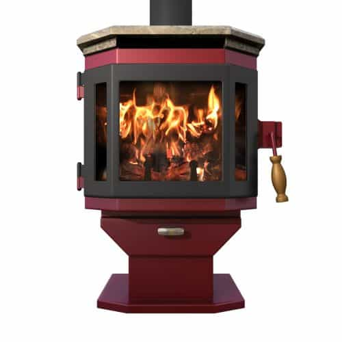 MF Fire Mojave Red Catalyst Wood Stove with Satin Black Door