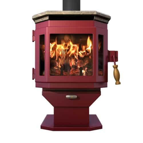 MF Fire Mojave Red Catalyst Wood Stove with Soapstone Top