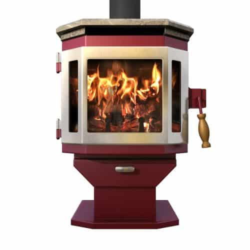 MF Fire Mojave Red Catalyst Wood Stove with Stainless Steel Door