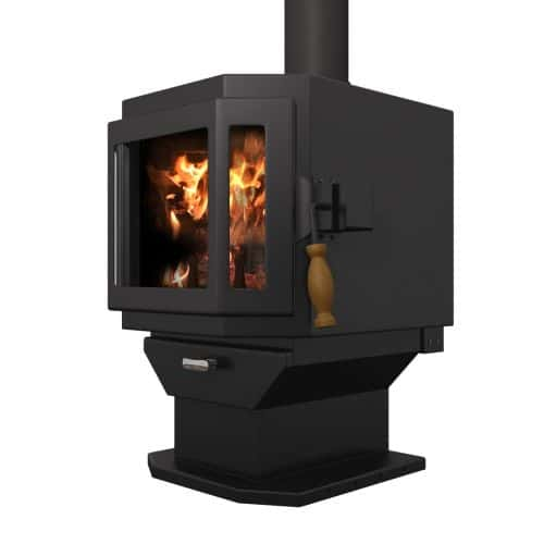 MF Fire Satin Black Catalyst Wood Stove with Room Blower Fan 1