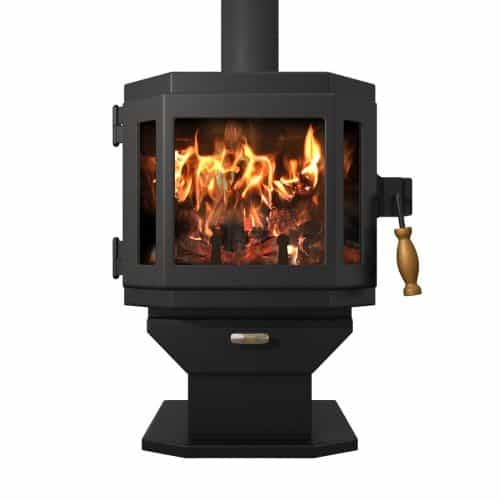 MF Fire Satin Black Catalyst Wood Stove with Room Blower Fan