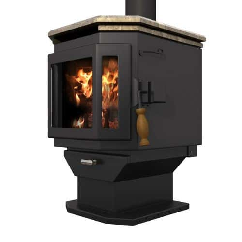 MF Fire Satin Black Catalyst Wood Stove with Soapstone Top
