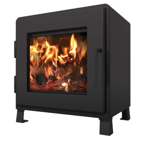 MF Fire Satin Black Nova Wood Stove with Room Blower Fan 1