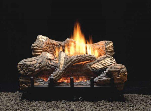 """MV 5-piece 18"""" 10000 BTU Ceramic Fiber Log Set - Natural Gas"""