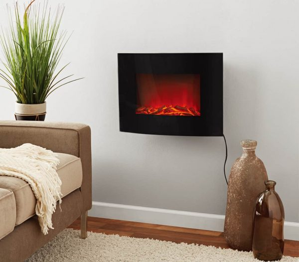 Mainstays Freestanding or Wall Mounted Electric Fireplace Heater, Black Finish 1