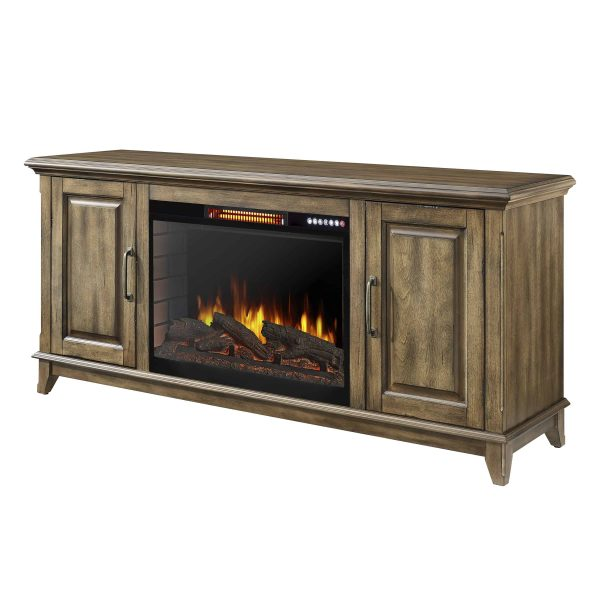 Marcus 60-in Electric Fireplace with Bluetooth in Antique Pine Finish