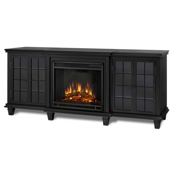 Marlowe Electric Entertainment Fireplace in Black by Real Flame 1
