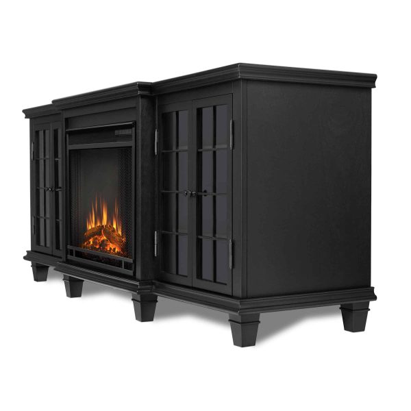 Marlowe Electric Entertainment Fireplace in Black by Real Flame 2