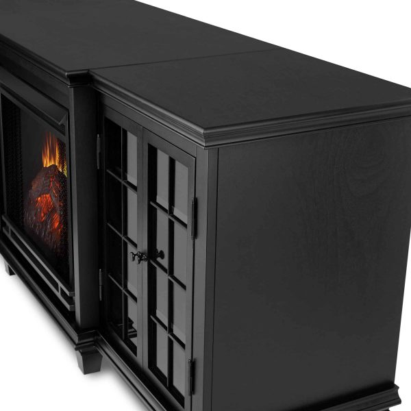 Marlowe Electric Entertainment Fireplace in Black by Real Flame 4