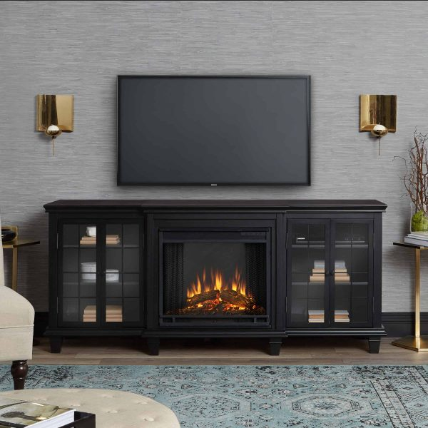 Marlowe Electric Entertainment Fireplace in Black by Real Flame