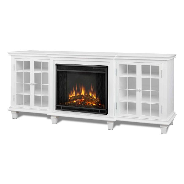 Marlowe Electric Entertainment Fireplace in White by Real Flame 1