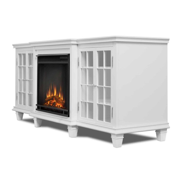 Marlowe Electric Entertainment Fireplace in White by Real Flame 2