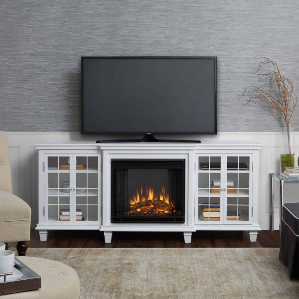 Marlowe Electric Entertainment Fireplace in White by Real Flame