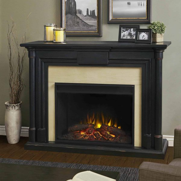 Maxwell Grand Electric Fireplace in Blackwash by Real Flame
