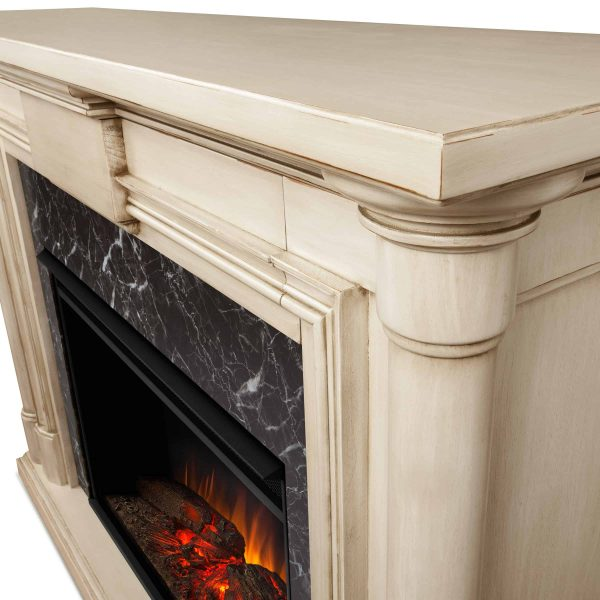 Maxwell Grand Electric Fireplace in Whitewash by Real Flame 1