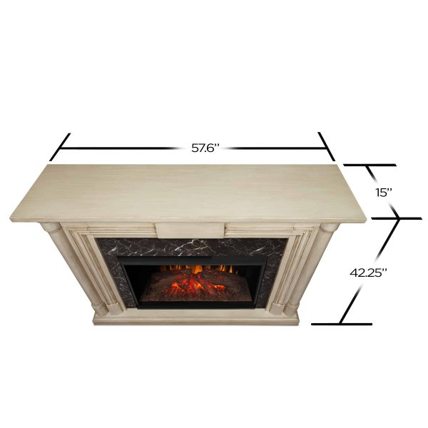 Maxwell Grand Electric Fireplace in Whitewash by Real Flame 2
