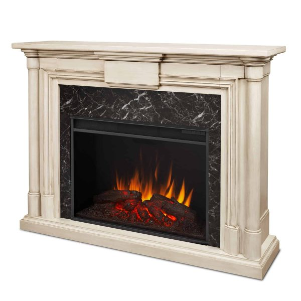 Maxwell Grand Electric Fireplace in Whitewash by Real Flame 4
