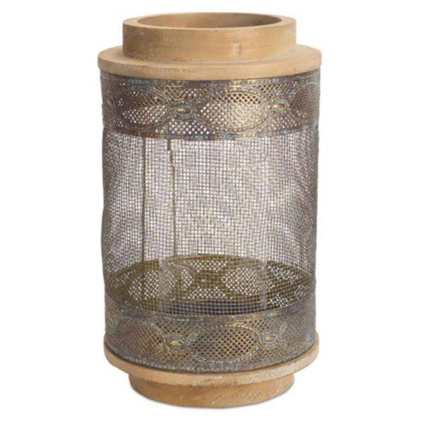 Melrose International Rustic Metal and Wood Candleholder